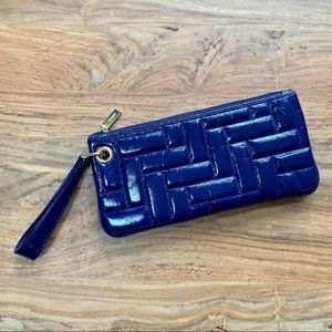 Hobo Blue Quilted Patent Leather Wristlet
